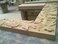 Bespoke Hand-Carved Stone Fireplace with Acorn Artwork 10