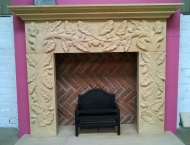 Bespoke Hand-Carved Stone Fireplace with Acorn Artwork 12