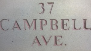 Hand-Engraved Stone Name Plaque - 37 Campbell Ave.