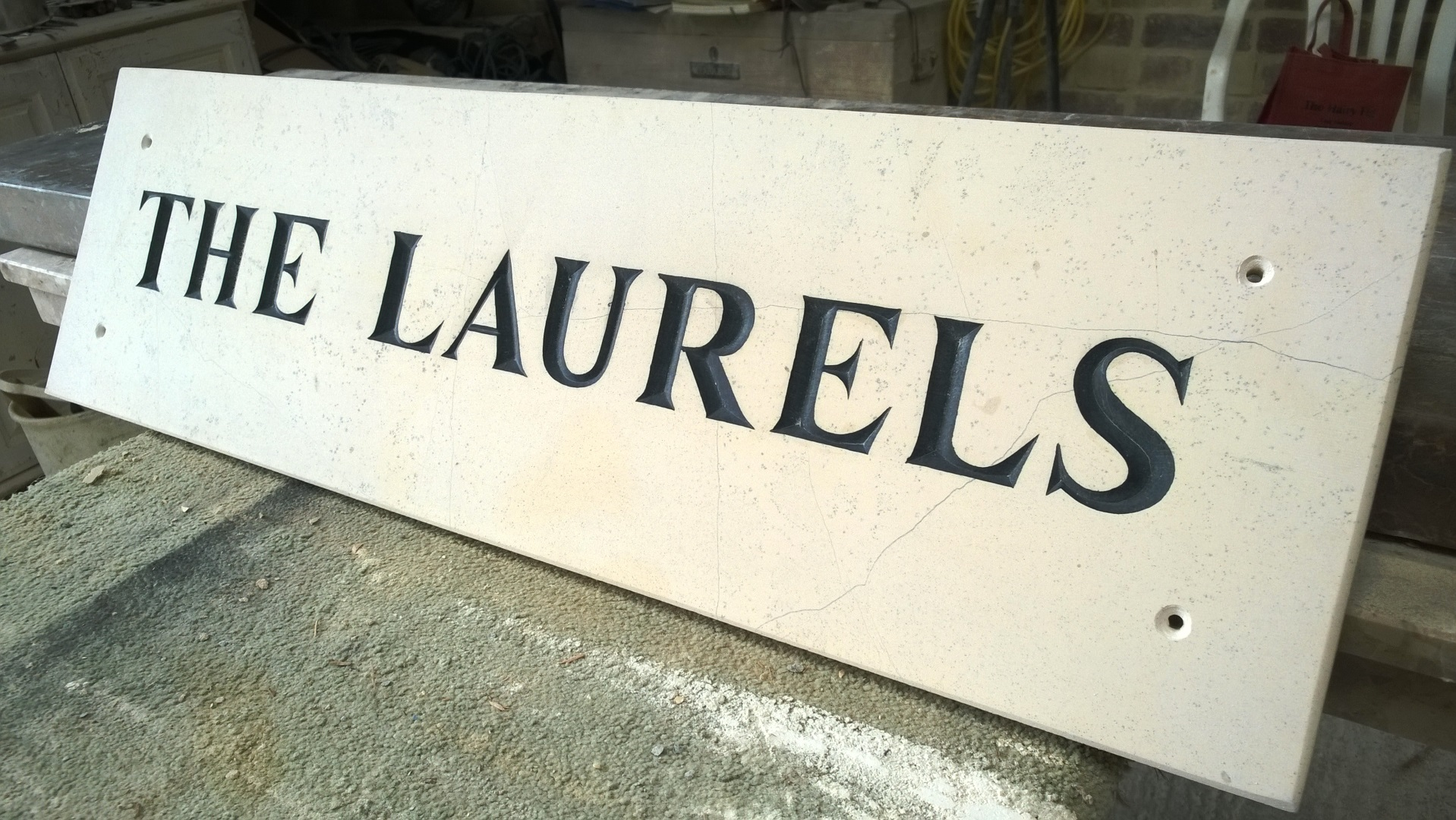 Name Plaques Hand-Engraved in Stone   Traditional Stone Name Plaques